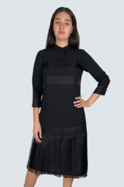 Mossaic Knee Length Dress With Organza Combo - Front full body