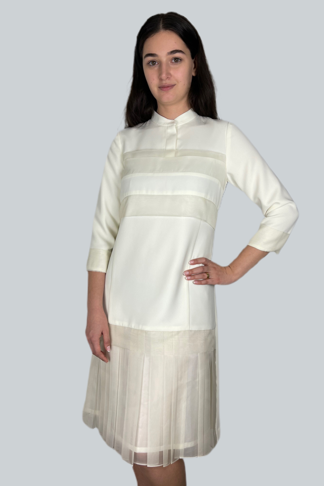 Mossaic Knee Length Dress With Organza Combo - Front Cropped Image