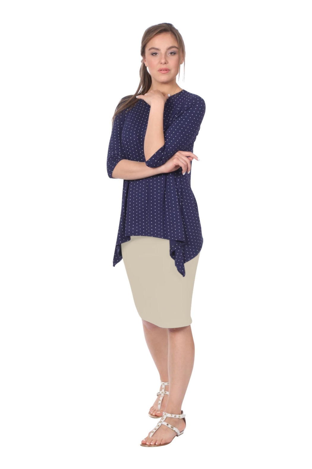Kosher Casual Knee-length Pencil Skirt Fitted in Cotton Lycra - Front Cropped Image