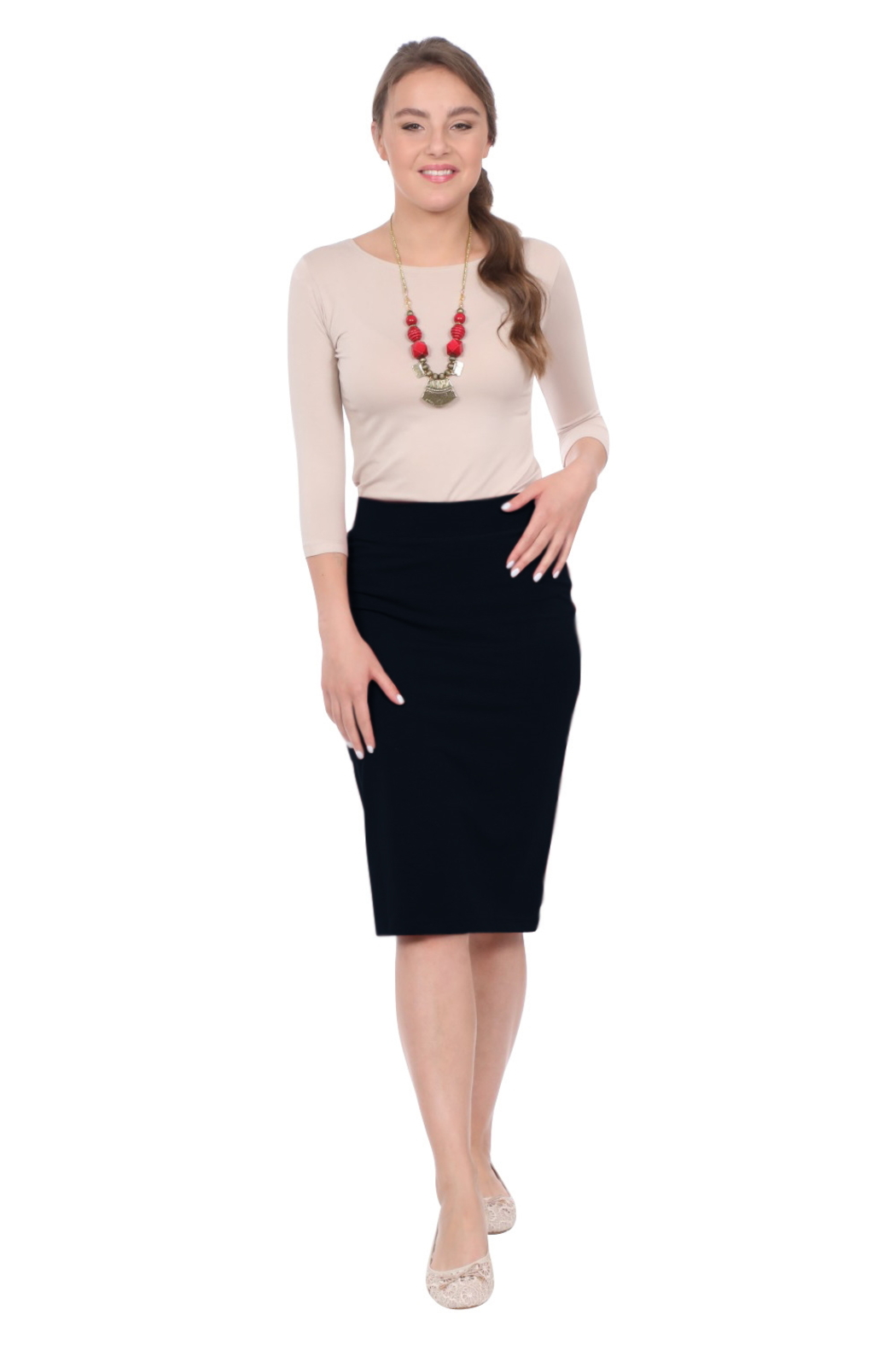 Kosher Casual Knee-length Pencil Skirt Fitted in Cotton Lycra - Main Image