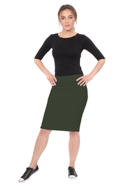Kosher Casual Knee-length Pencil Skirt Fitted in Cotton Lycra - Front cropped