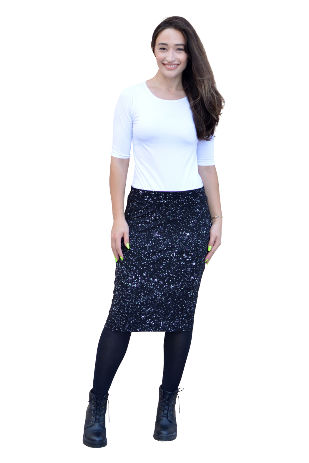 Kosher Casual Knee-length Pencil Skirt Fitted in Cotton Lycra - Printed - Main Image