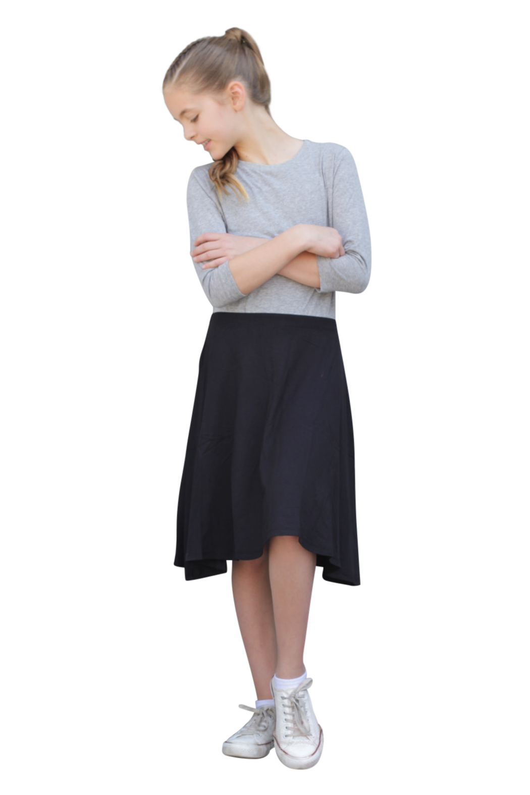 Kosher Casual Knee Length Skater Skirt - Front Full Image
