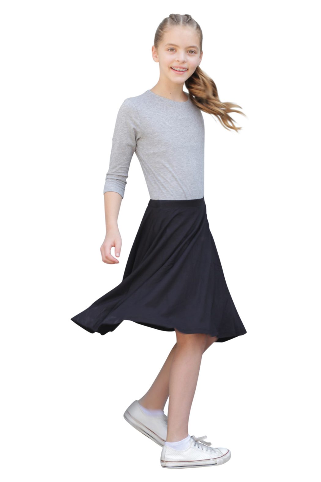 Kosher Casual Knee Length Skater Skirt - Side Cropped Image