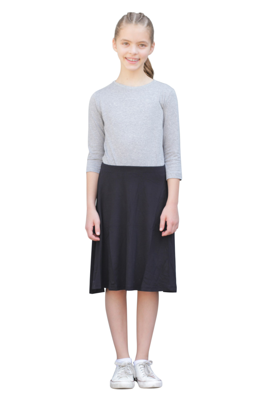 Kosher Casual Knee Length Skater Skirt - Front Cropped Image