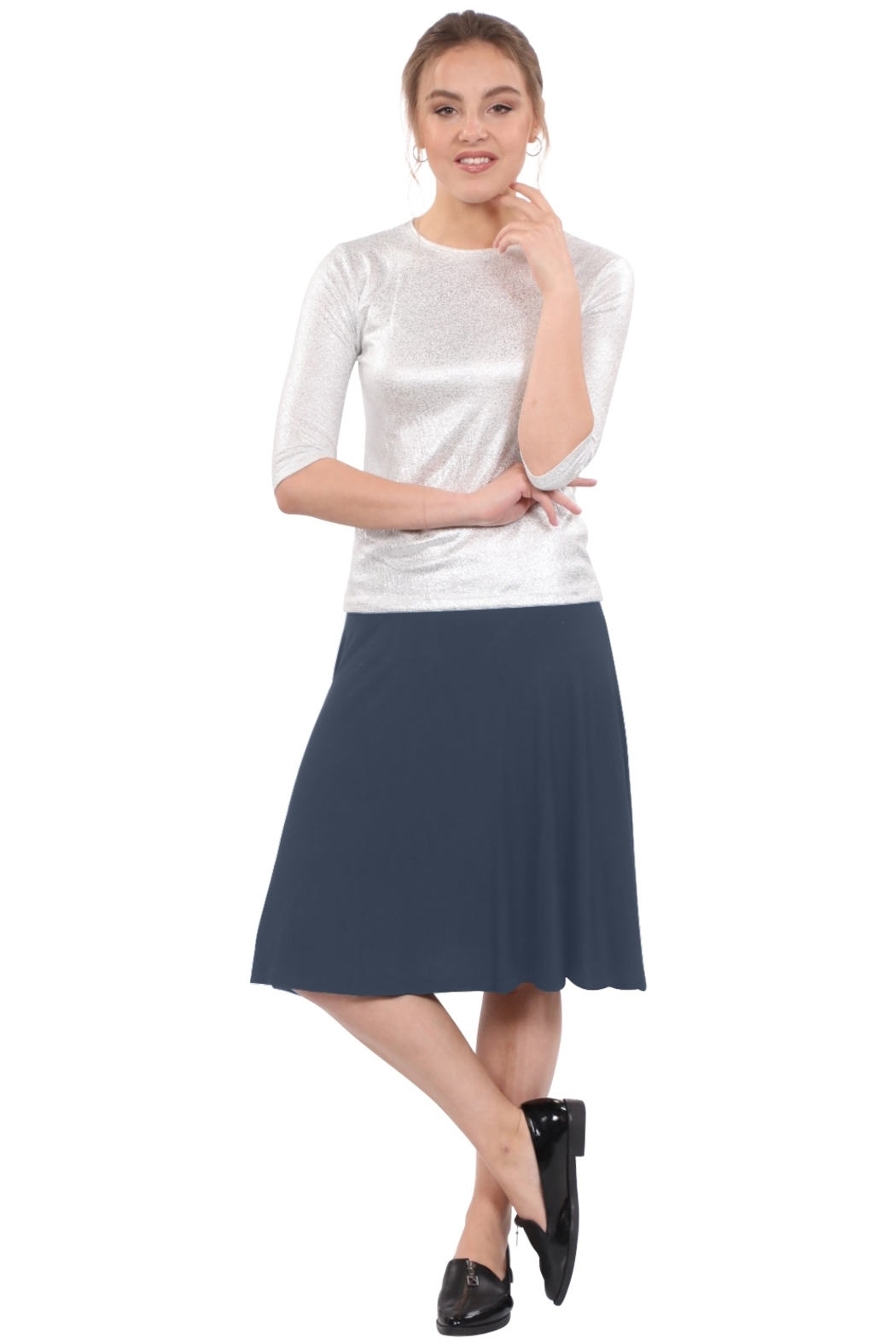 Kosher Casual Knee-Length Skater Skirt with Full A-line Cut - Main Image