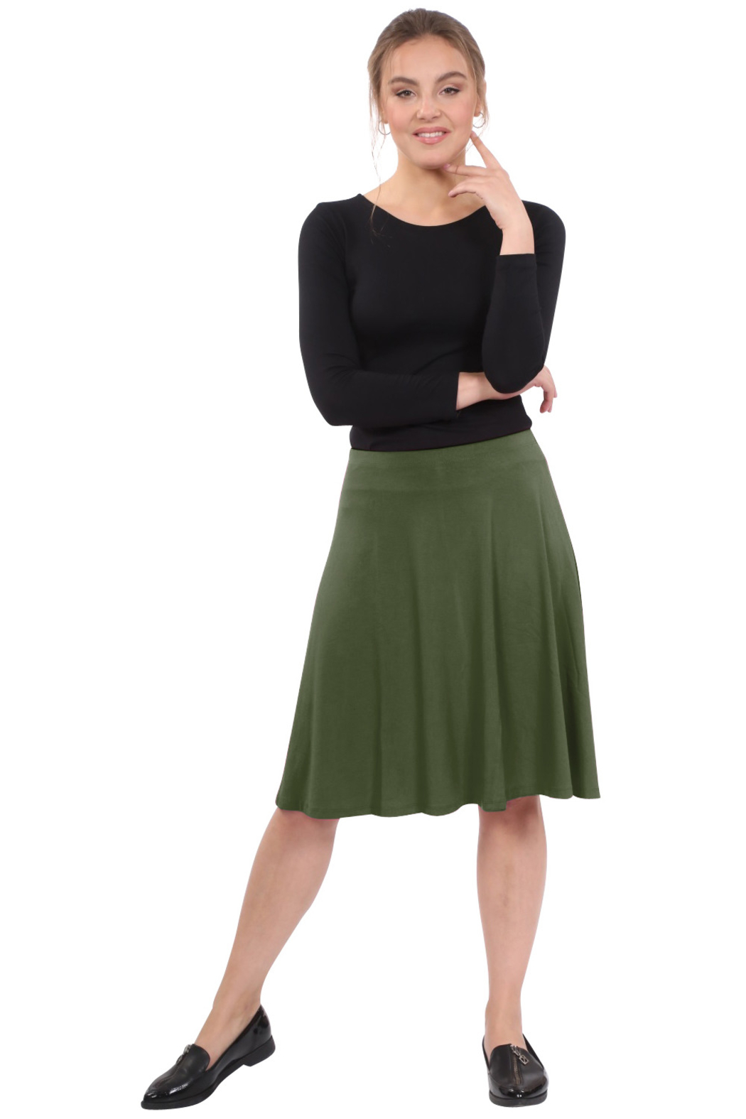 Kosher Casual Knee-Length Skater Skirt with Full A-line Cut - Front Cropped Image