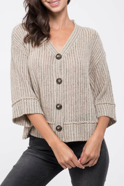 Blu Pepper Knit Button-Down Top - Front cropped
