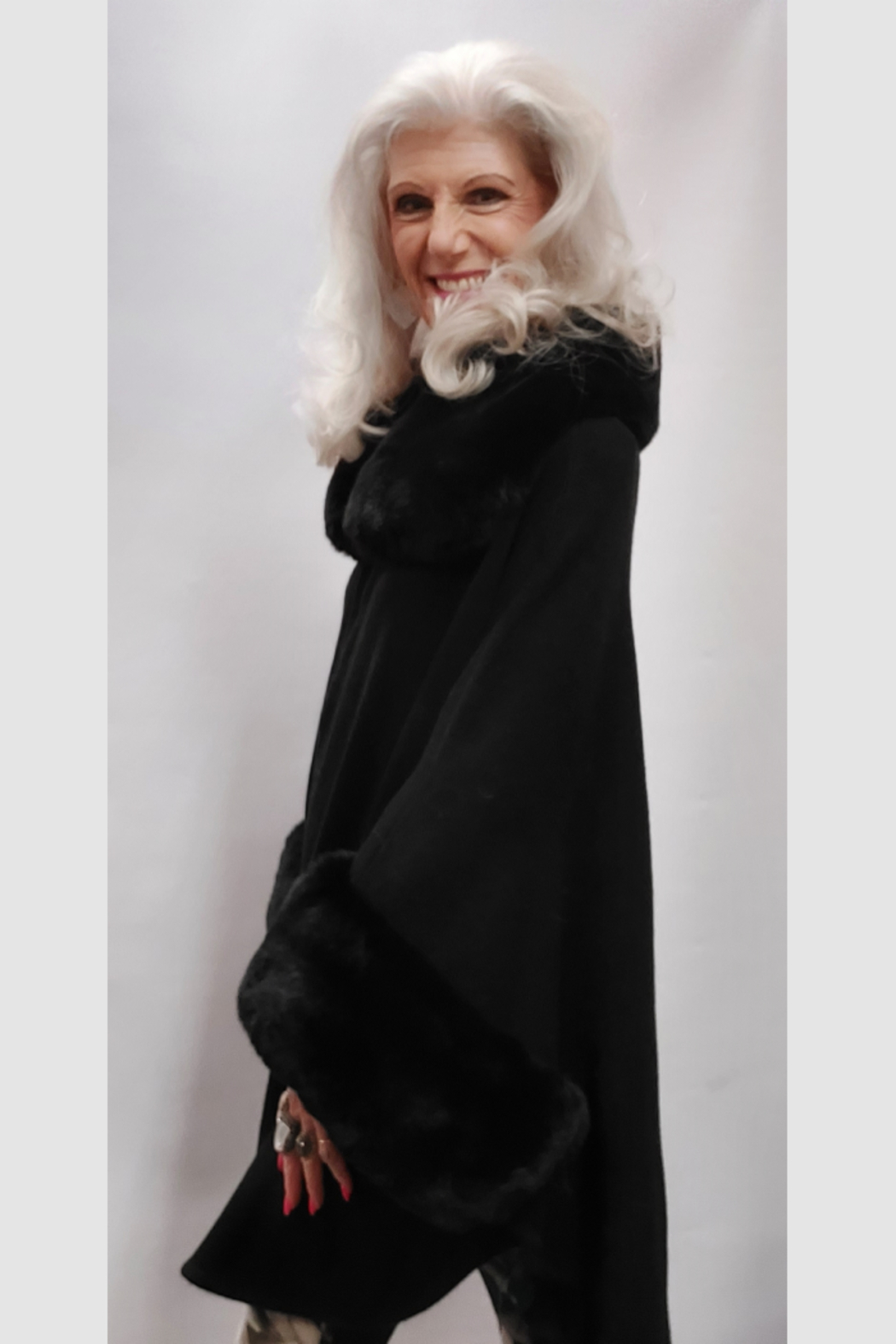 Apparel Love Knit Cape/Poncho Trimmed in Luxurious Faux Fur - Front Full Image