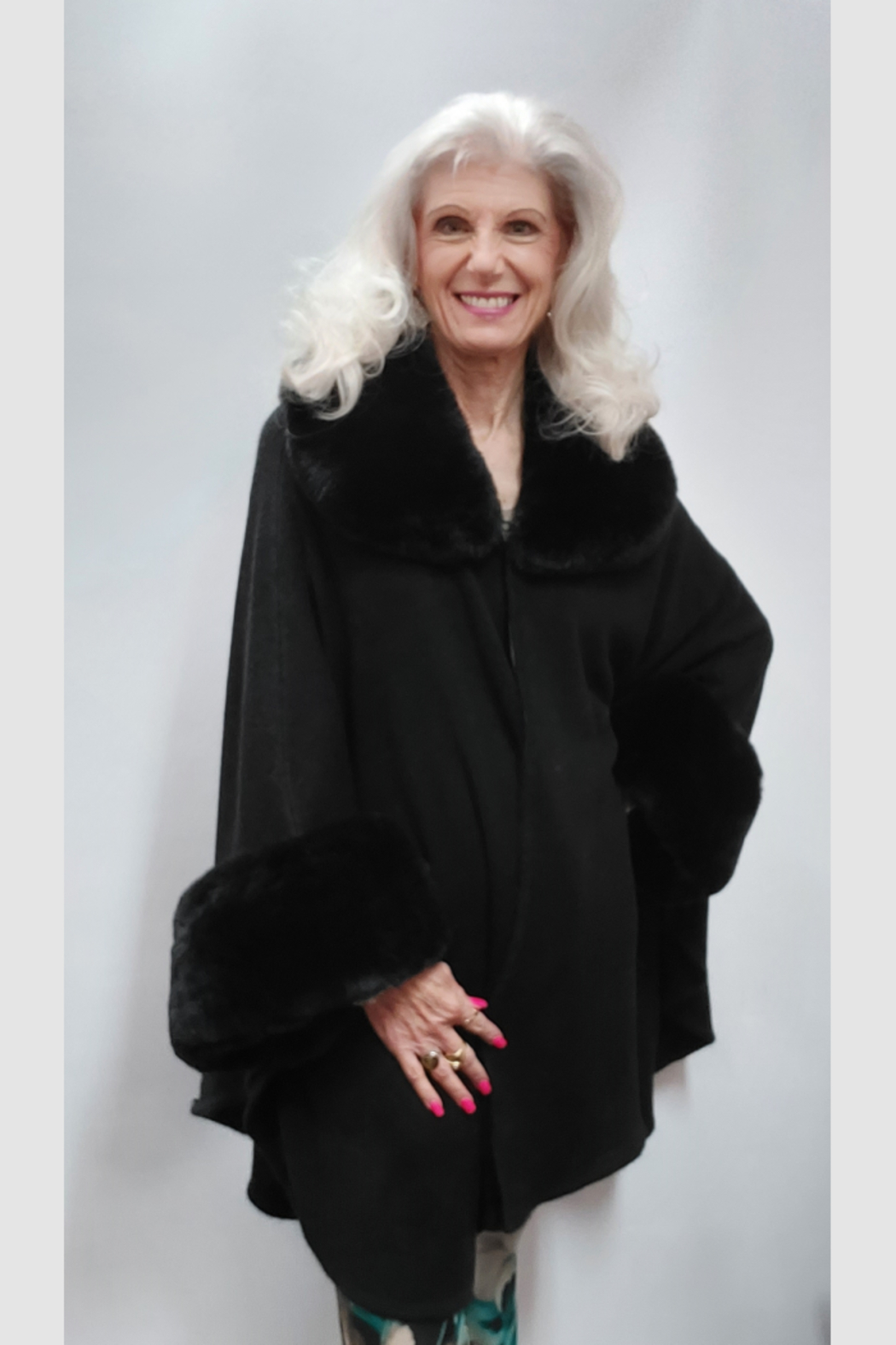 Apparel Love Knit Cape/Poncho Trimmed in Luxurious Faux Fur - Main Image
