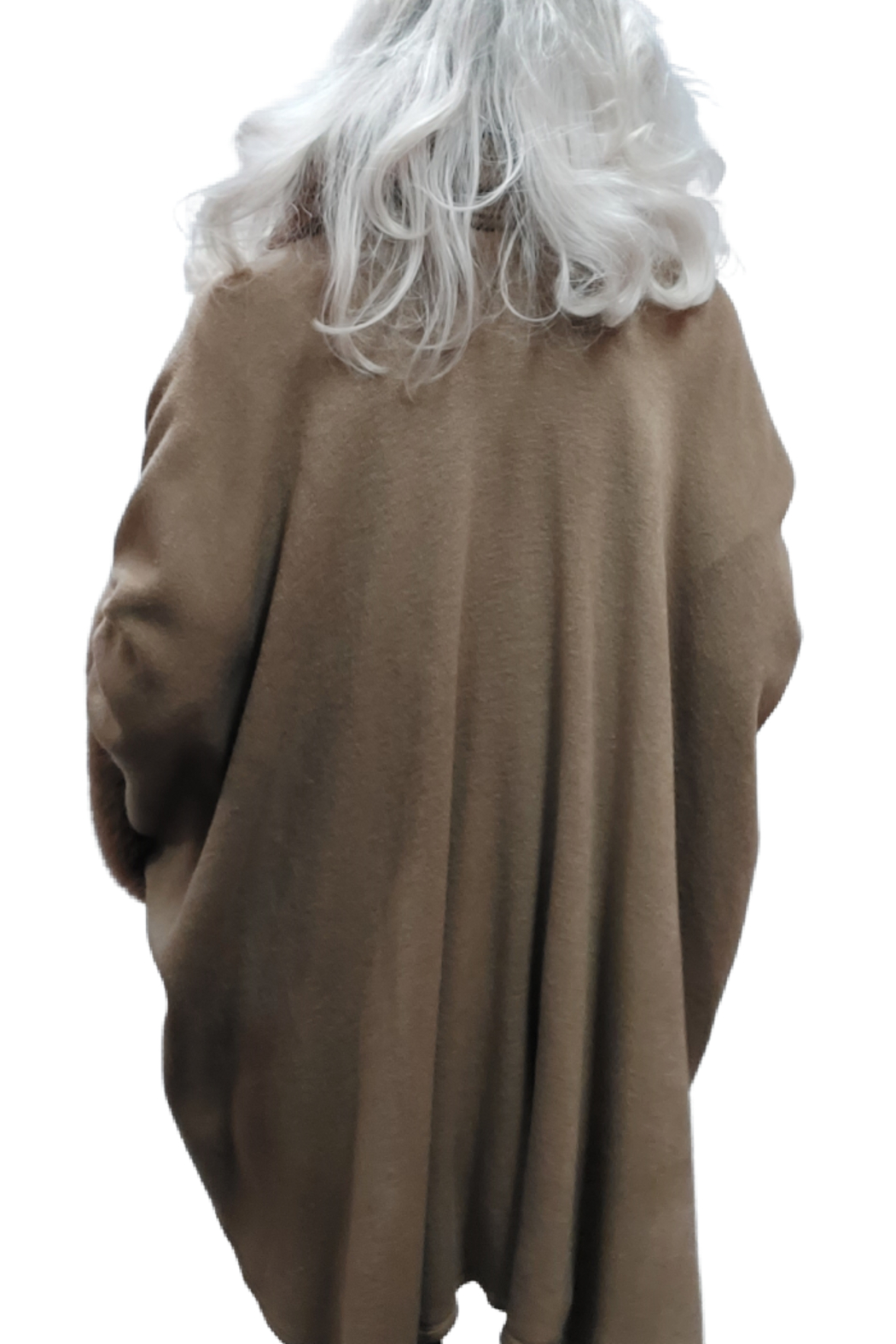 Apparel Love Knit Cape/Poncho Trimmed in Luxurious Faux Fur - Side Cropped Image