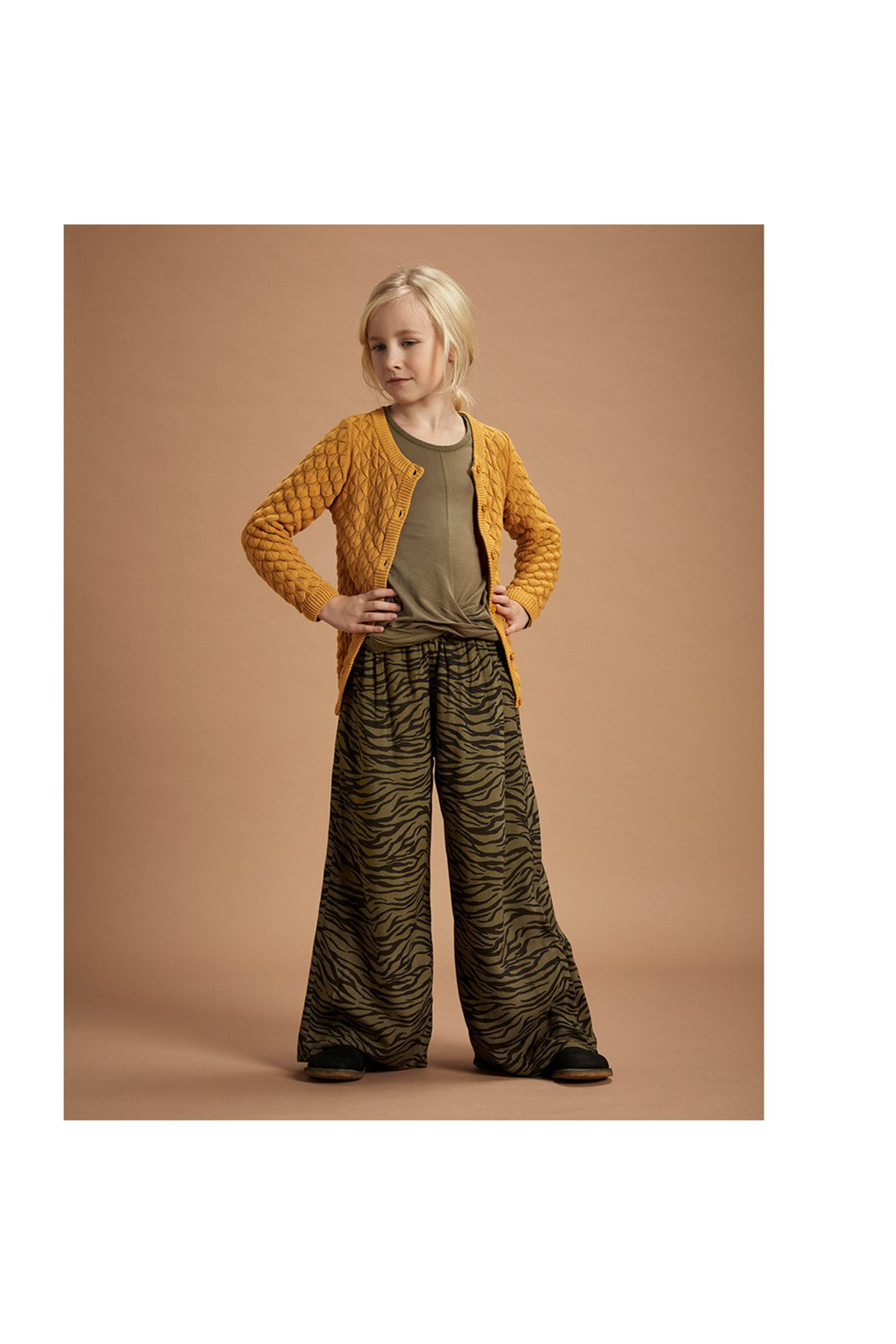 Minymo Knit Cardigan - Amber Gold - Front Full Image