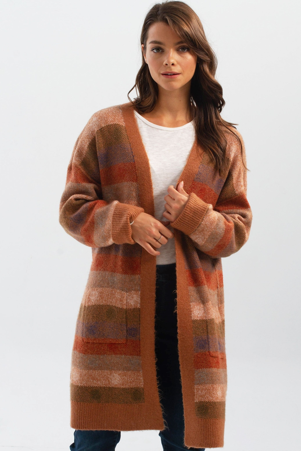 Charlie B. Knit Cardigan with Pockets - Front Full Image