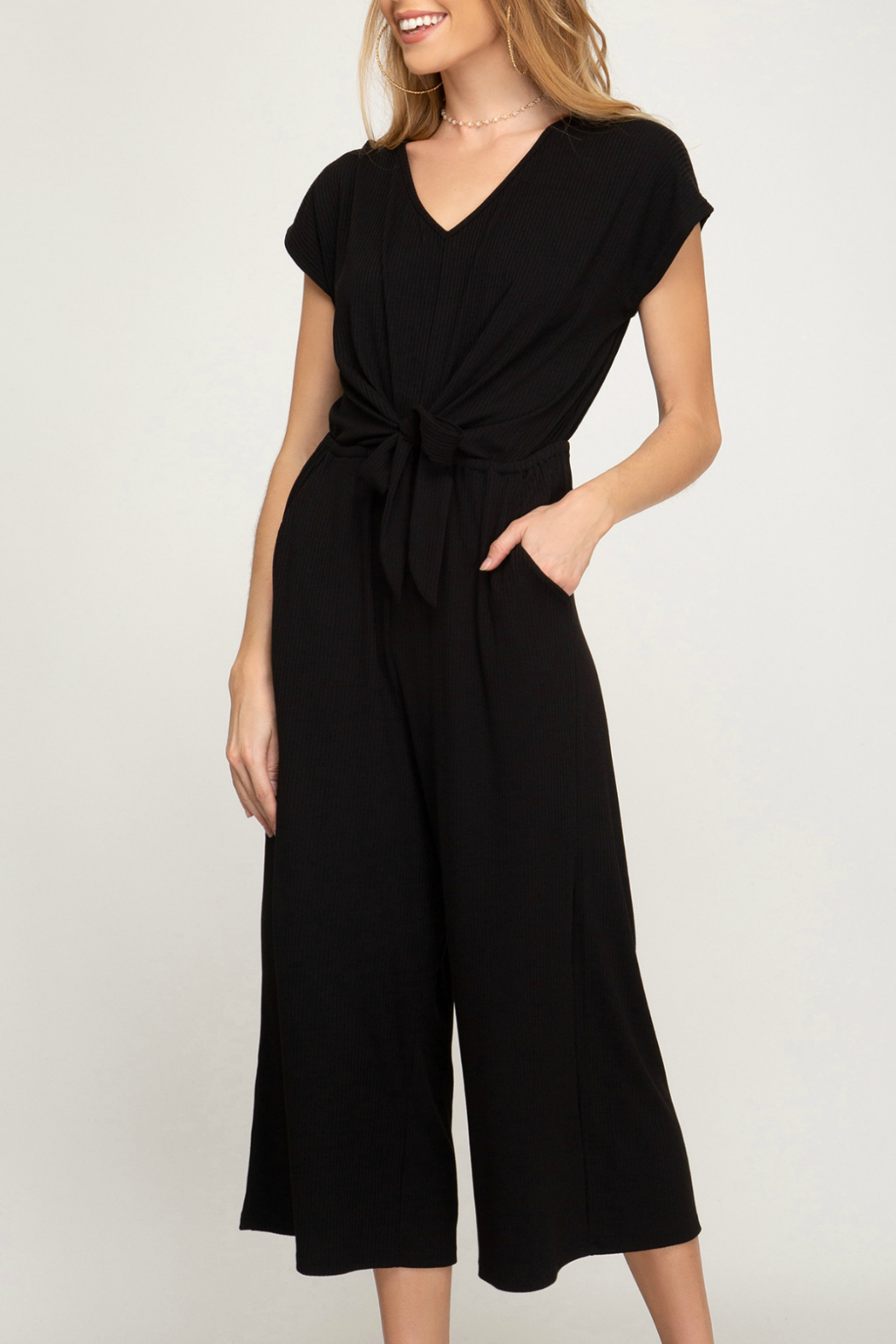 She & Sky  Knit culote jumpsuit - Main Image