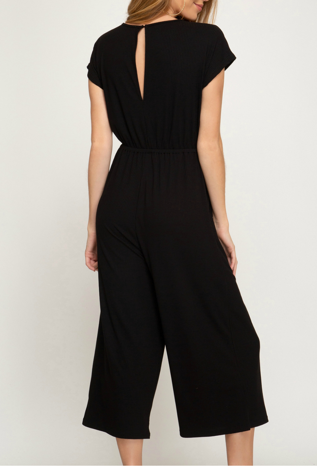 She & Sky  Knit culote jumpsuit - Front Full Image