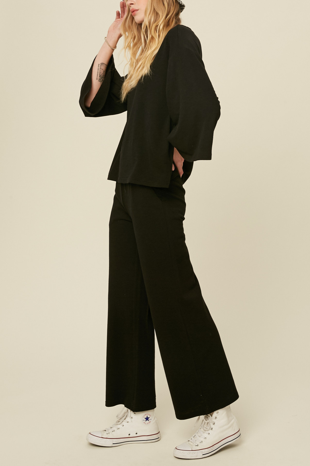 Listicle Knit Culotte Set - Side Cropped Image