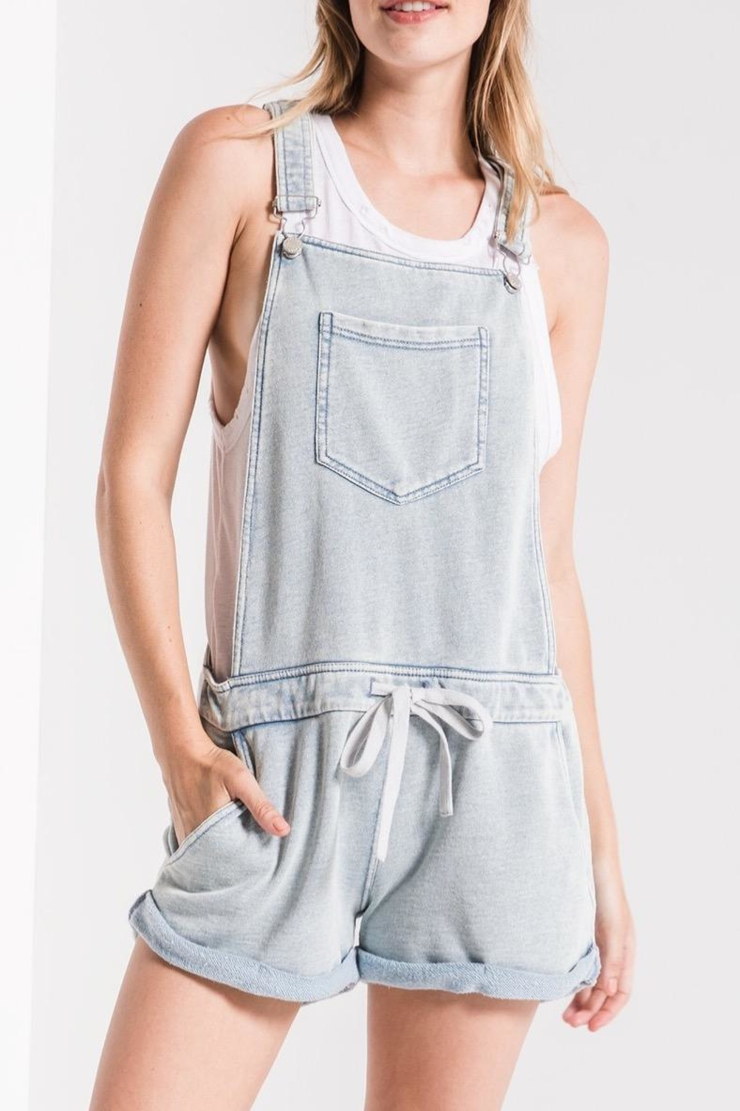 Zsupply Knit Denim Shortalls - Front Cropped Image