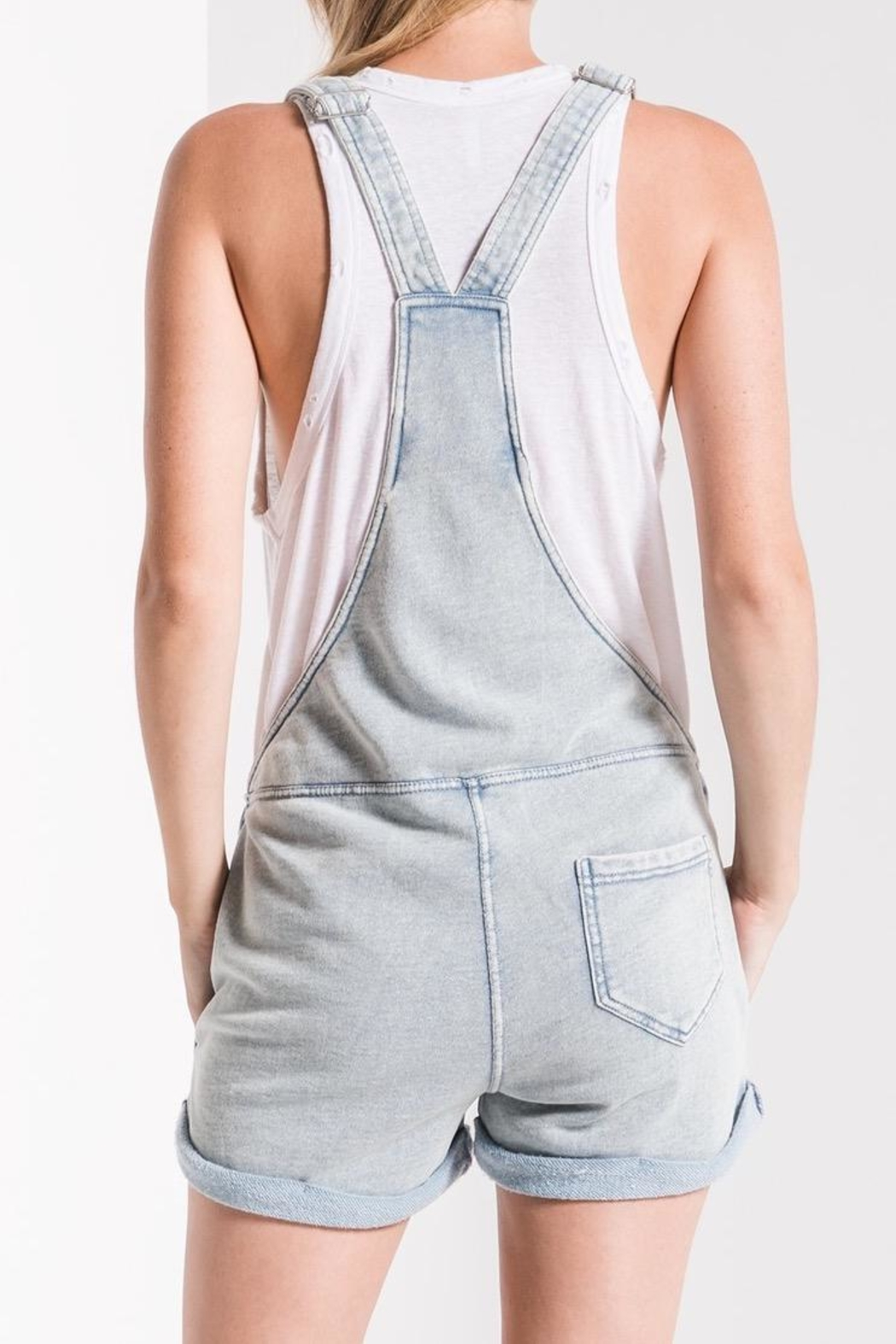 Zsupply Knit Denim Shortalls - Side Cropped Image