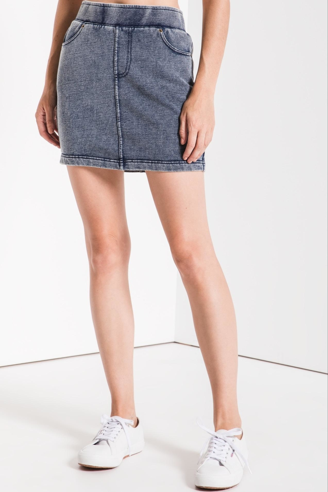 z supply Knit Denim Skirt - Front Cropped Image