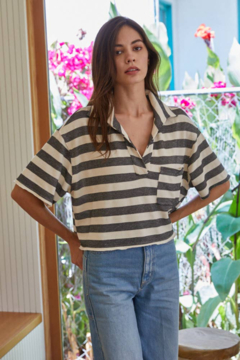 Shoptiques Product: Knit Hacci Striped Oversized Collar Crop Top