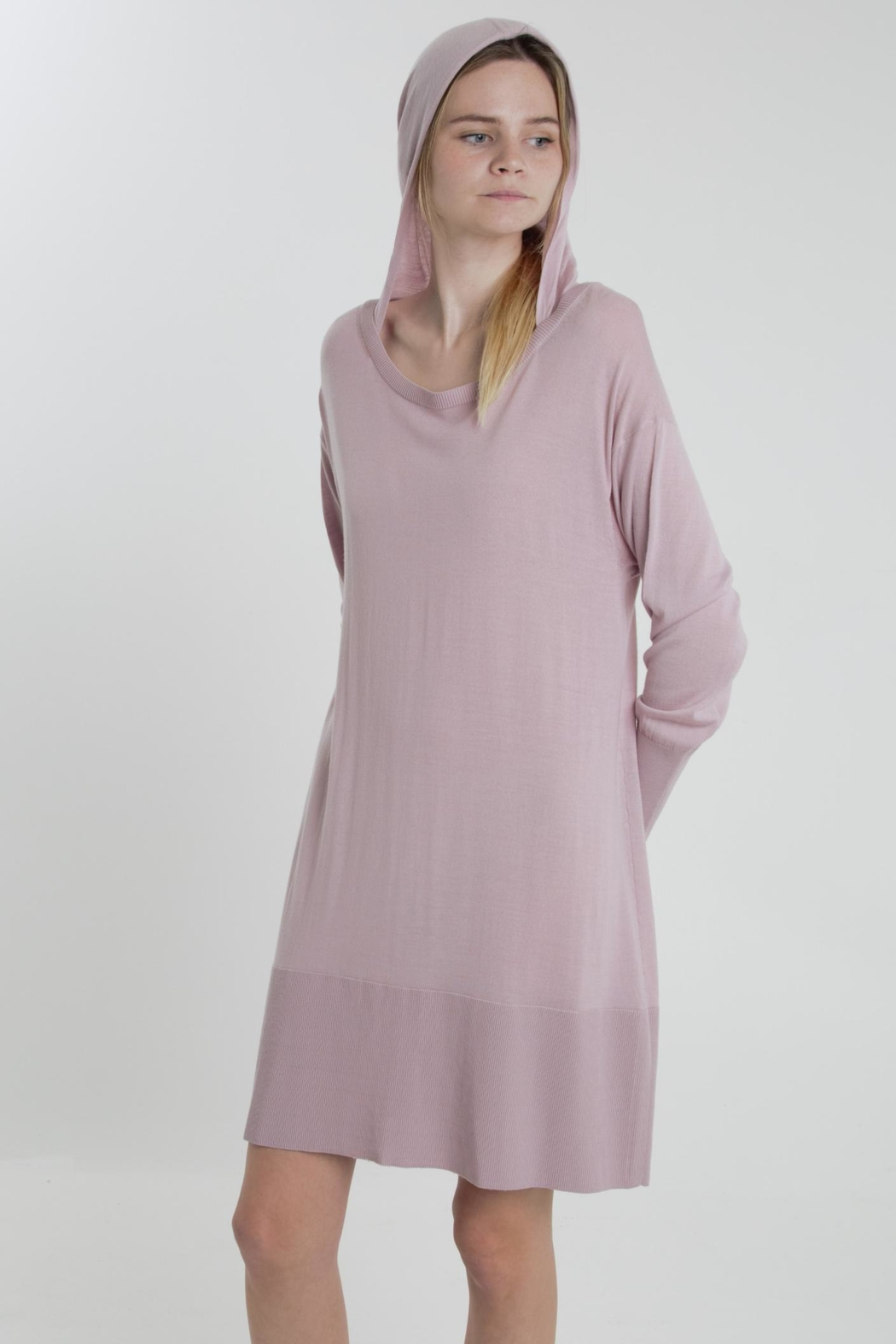 Thread+Onion Knit Hoodie Tunic - Front Cropped Image