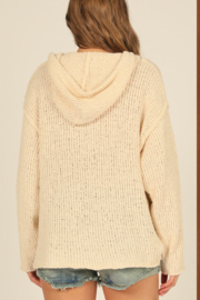 Vintage Havana  Knit Hoodie With Buttons - Front full body