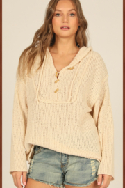 Vintage Havana  Knit Hoodie With Buttons - Front cropped