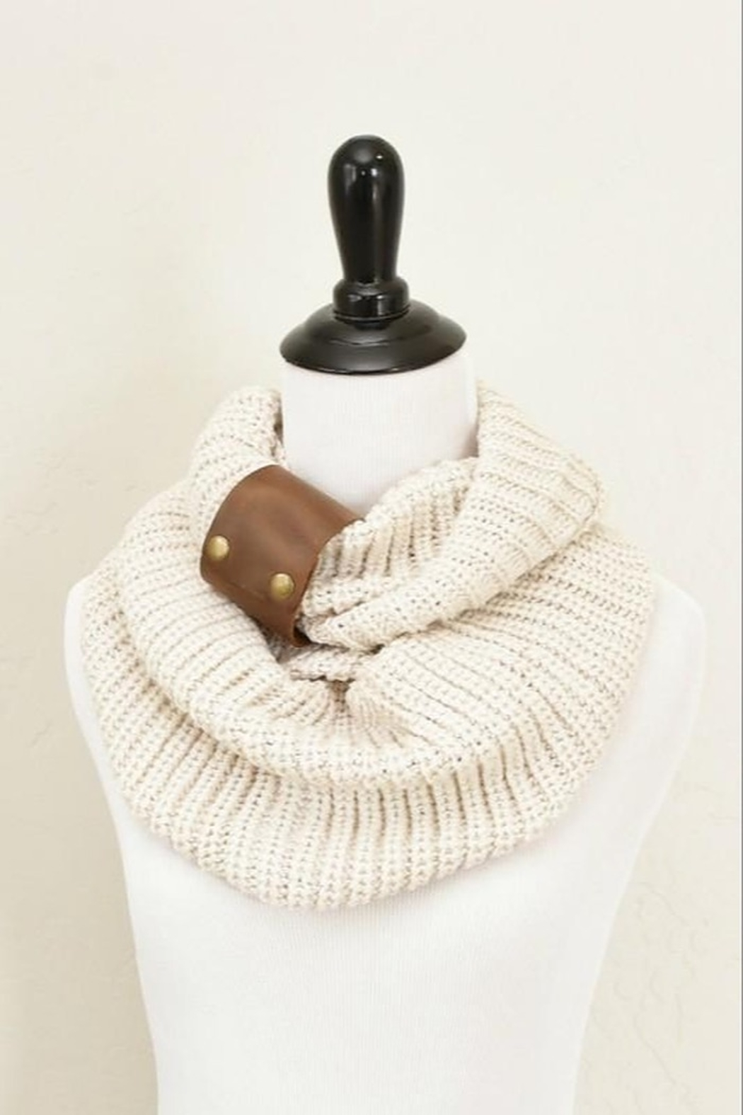 Peek A Boot Knit Infinity Scarf with Leather Cuff - Front Cropped Image