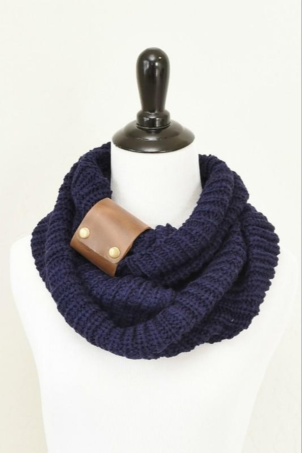 Peek A Boot Knit Infinity Scarf with Leather Cuff - Main Image