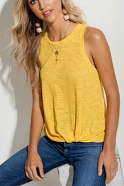LA MIEL  Knit Knotted Yellow-Shirt - Front cropped