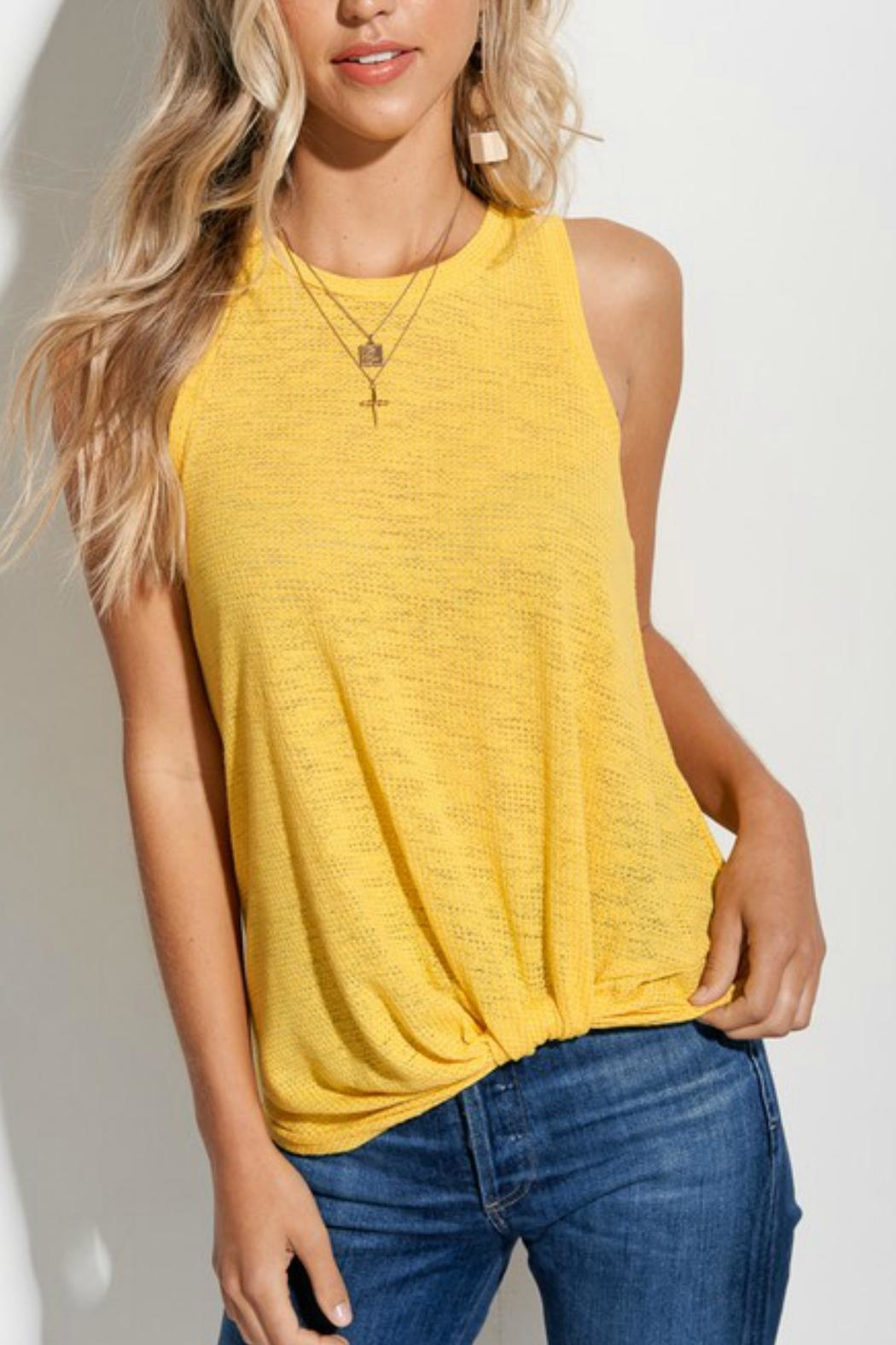 LA MIEL  Knit Knotted Yellow-Shirt - Front Full Image