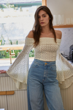 By Together  Knit Lace Off Shoulder Crop Top - Product List Image