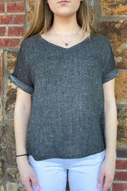 M made in Italy Knit & Linen Rolled SS Top - Product Mini Image