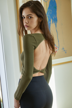 By Together Knit Long Sleeve Crop Top with Open Back - Alternate List Image