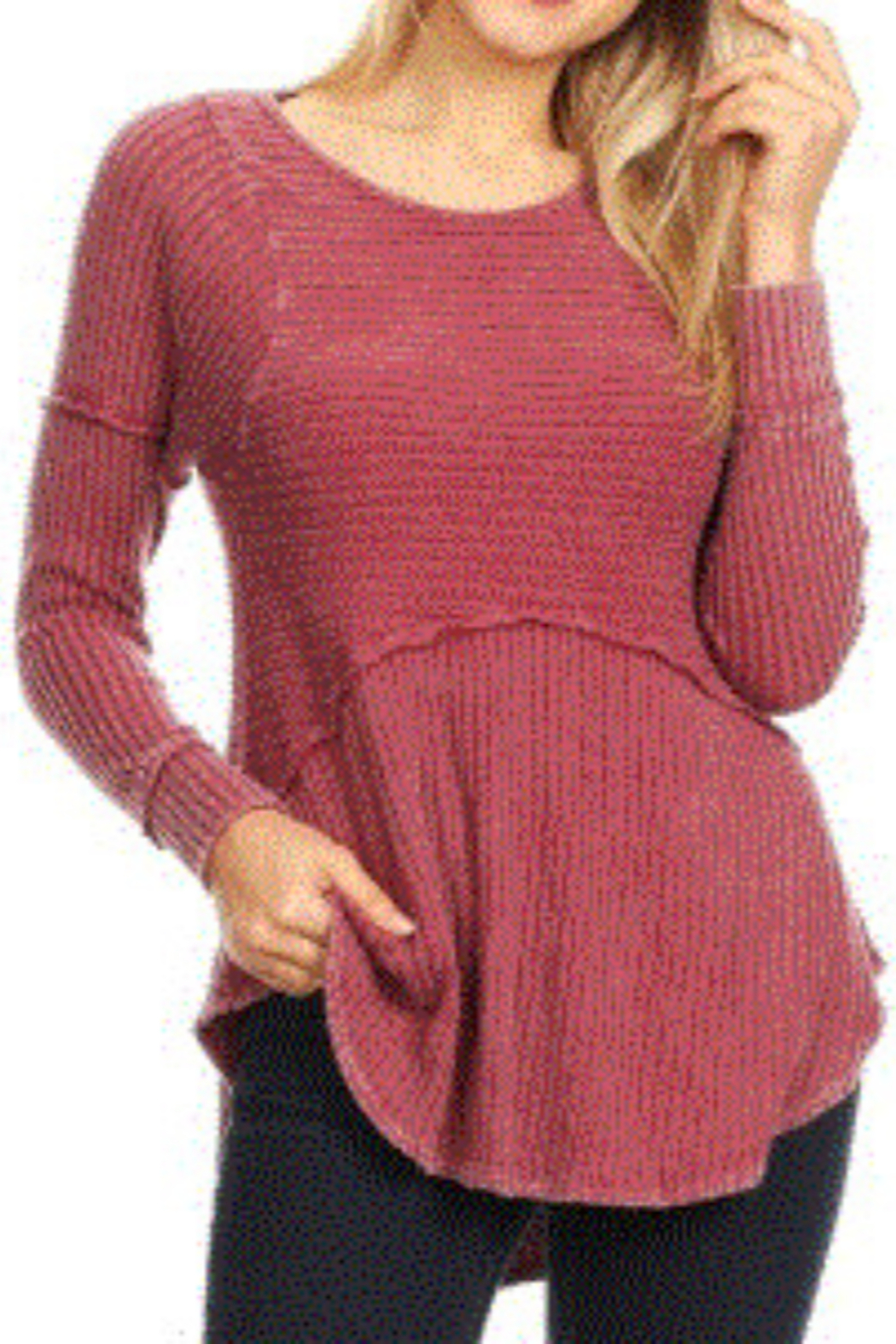 T Party Knit Long Sleeve Ribbed Top - Main Image