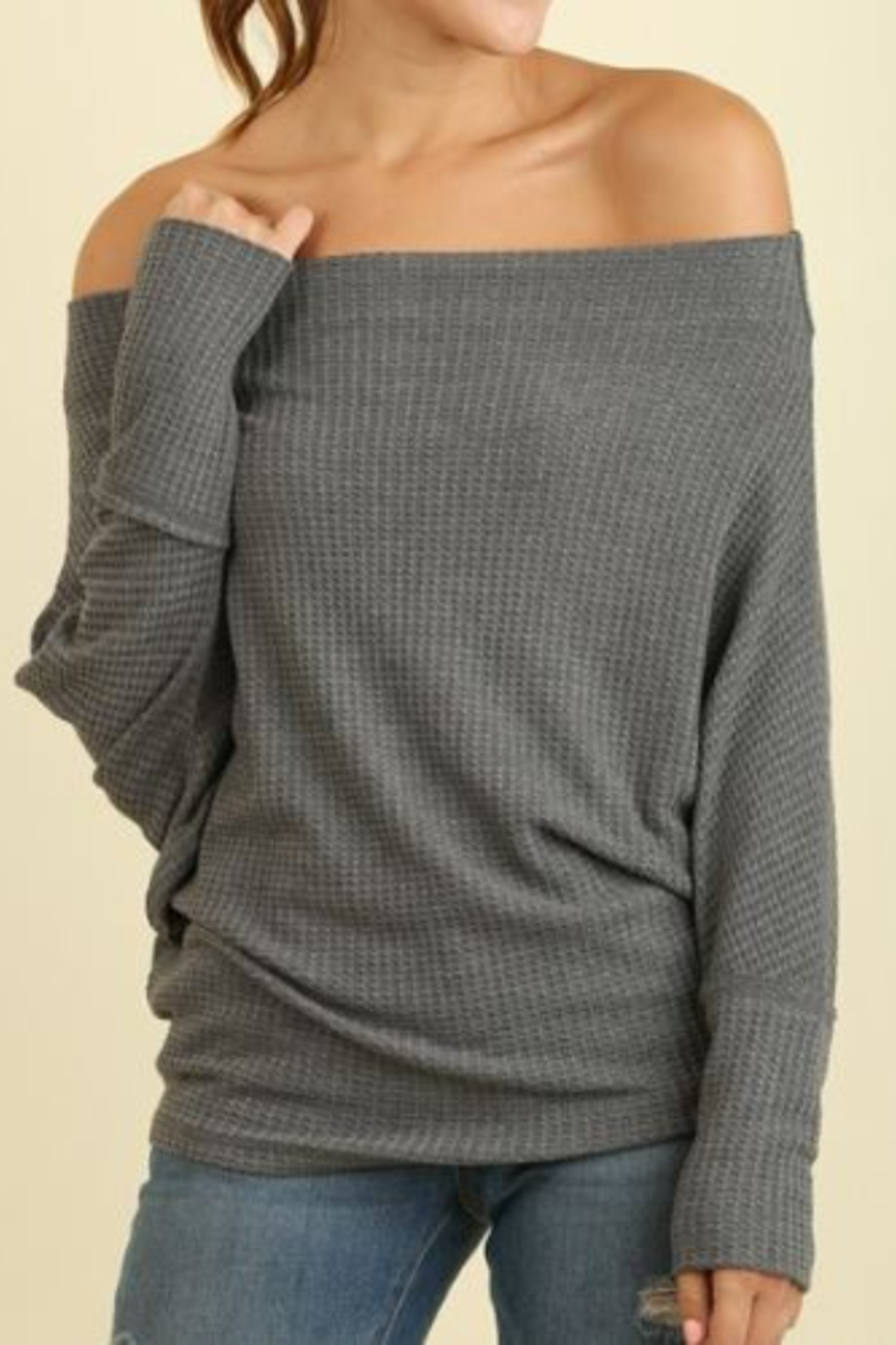 umgee  Knit Off Shoulder Batwing Long Sleeve Top - Front Cropped Image