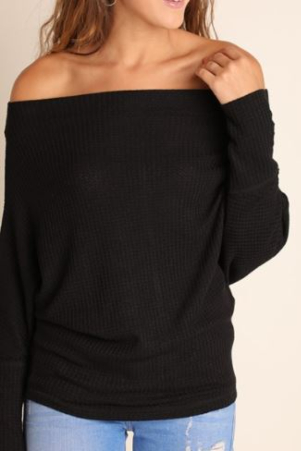 umgee  Knit Off Shoulder Batwing Long Sleeve Top - Front Full Image