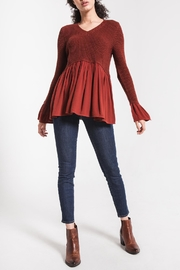 rag poets Knit Peplum Sweater - Front cropped