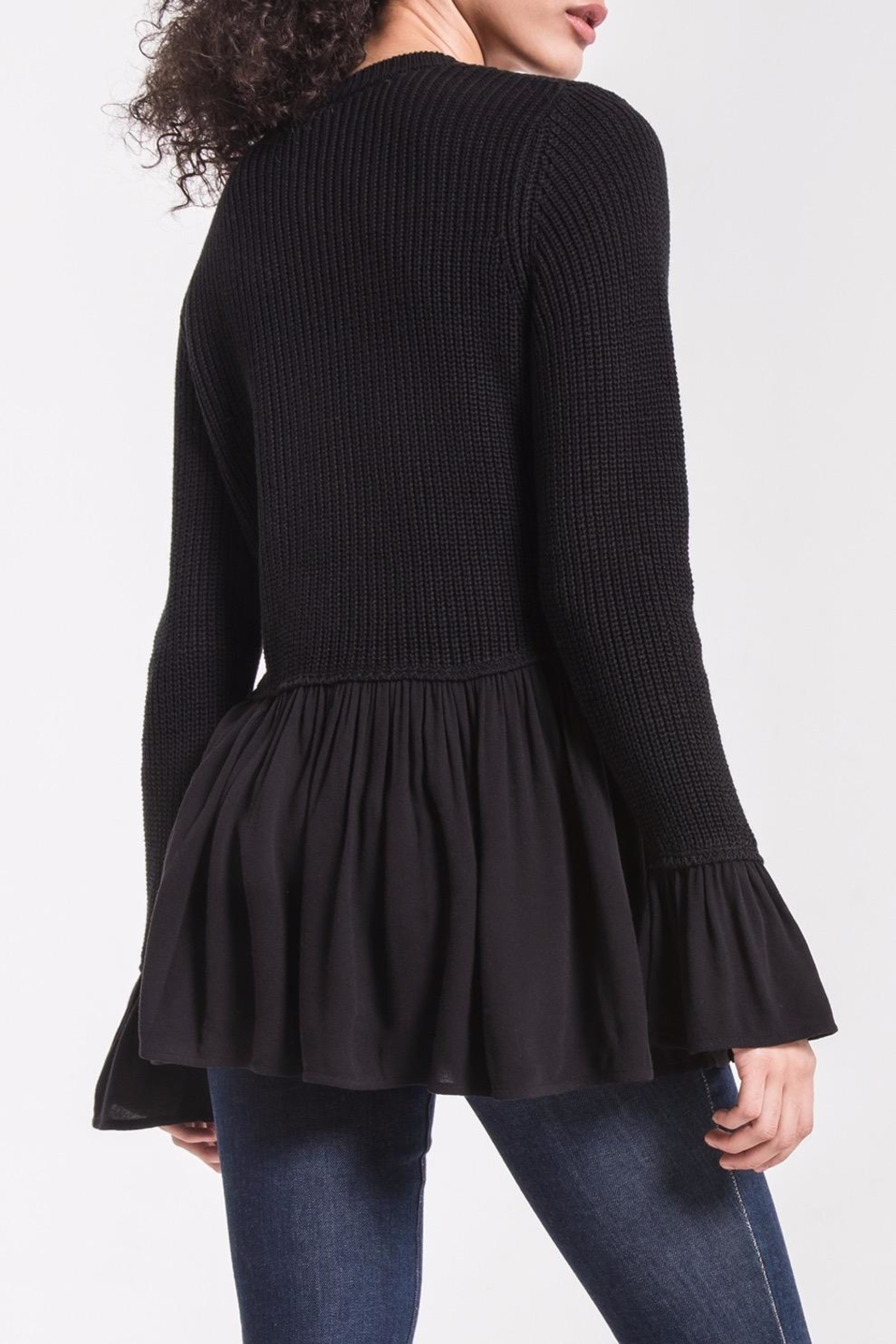 rag poets Knit Peplum Sweater - Front Full Image