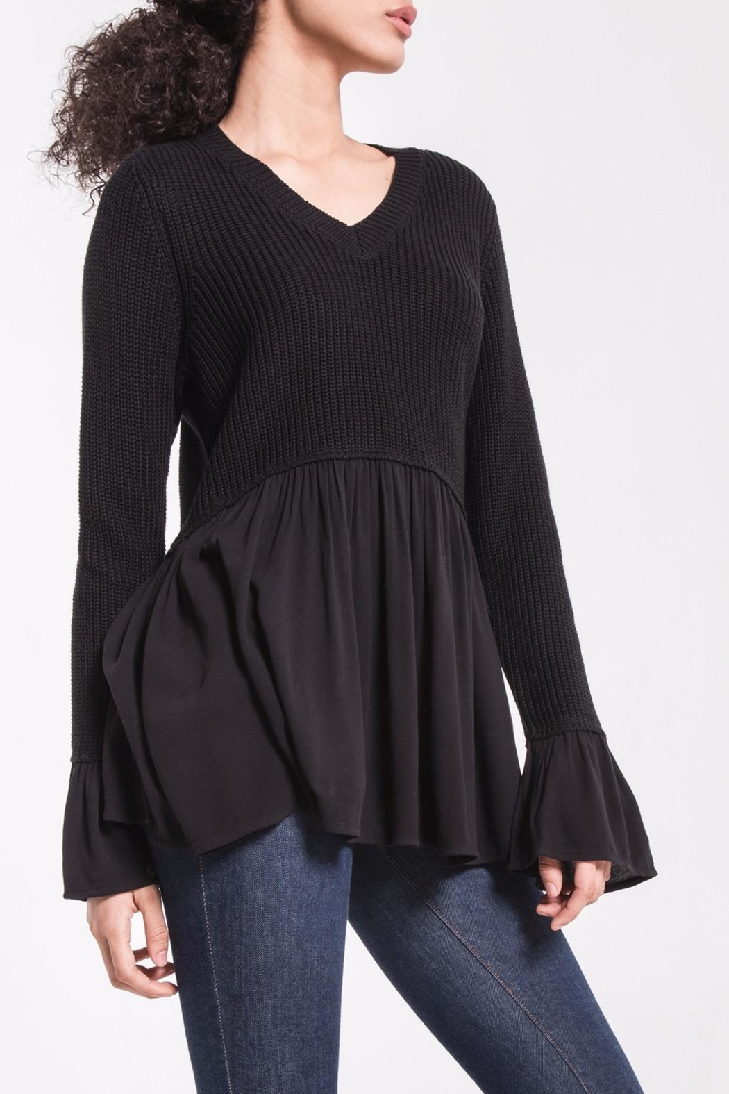 rag poets Knit Peplum Sweater - Front Cropped Image