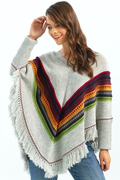 Charlie B. Knit Poncho with Fringe Detail - Product List Image