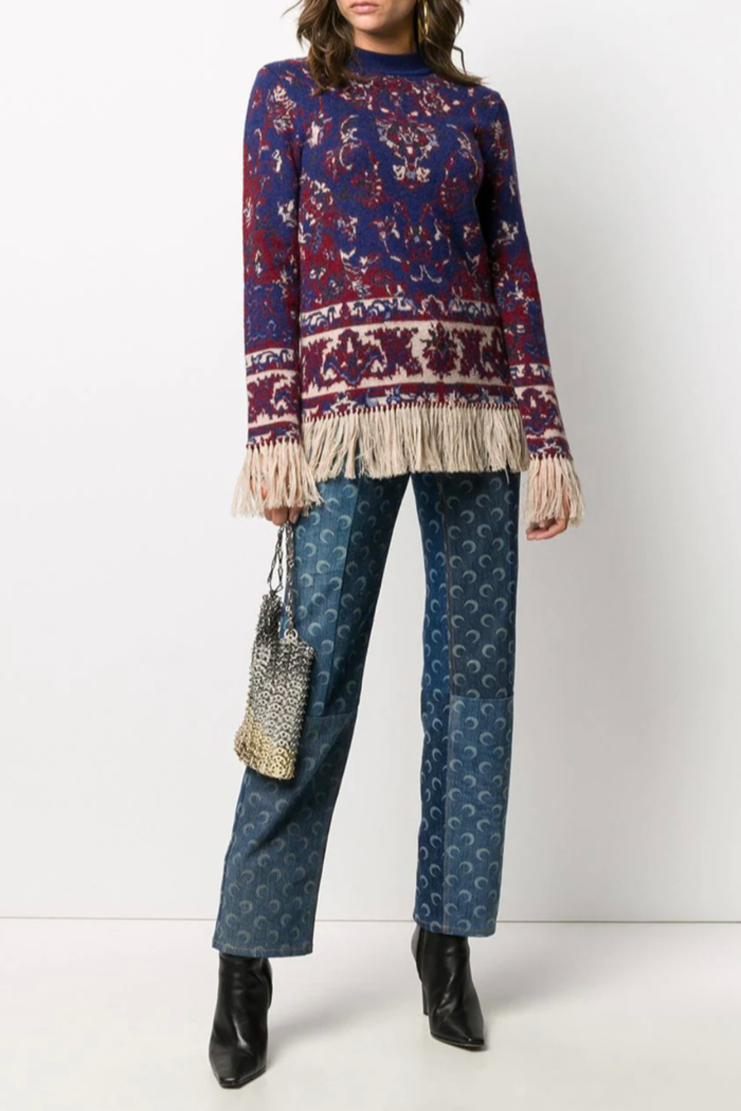 Paco Rabanne KNIT PULLOVER WITH FRINGE - Side Cropped Image