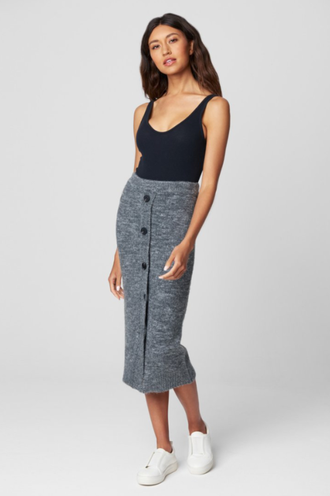Blank NYC KNIT SKIRT W/ BUTTONS - Front Cropped Image