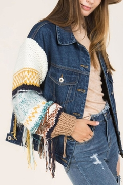 Shoptiques Product: Knit-Sleeve Denim Jacket