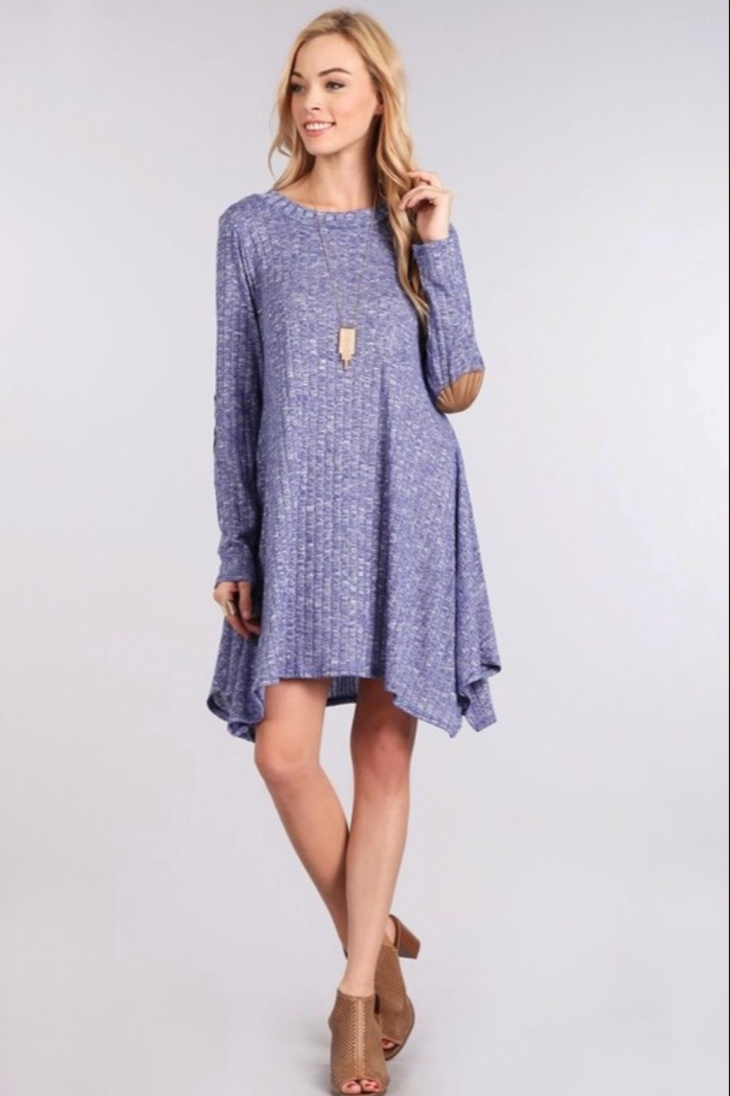Chris and Carol knit sweater dress with elbo patch - Front Full Image