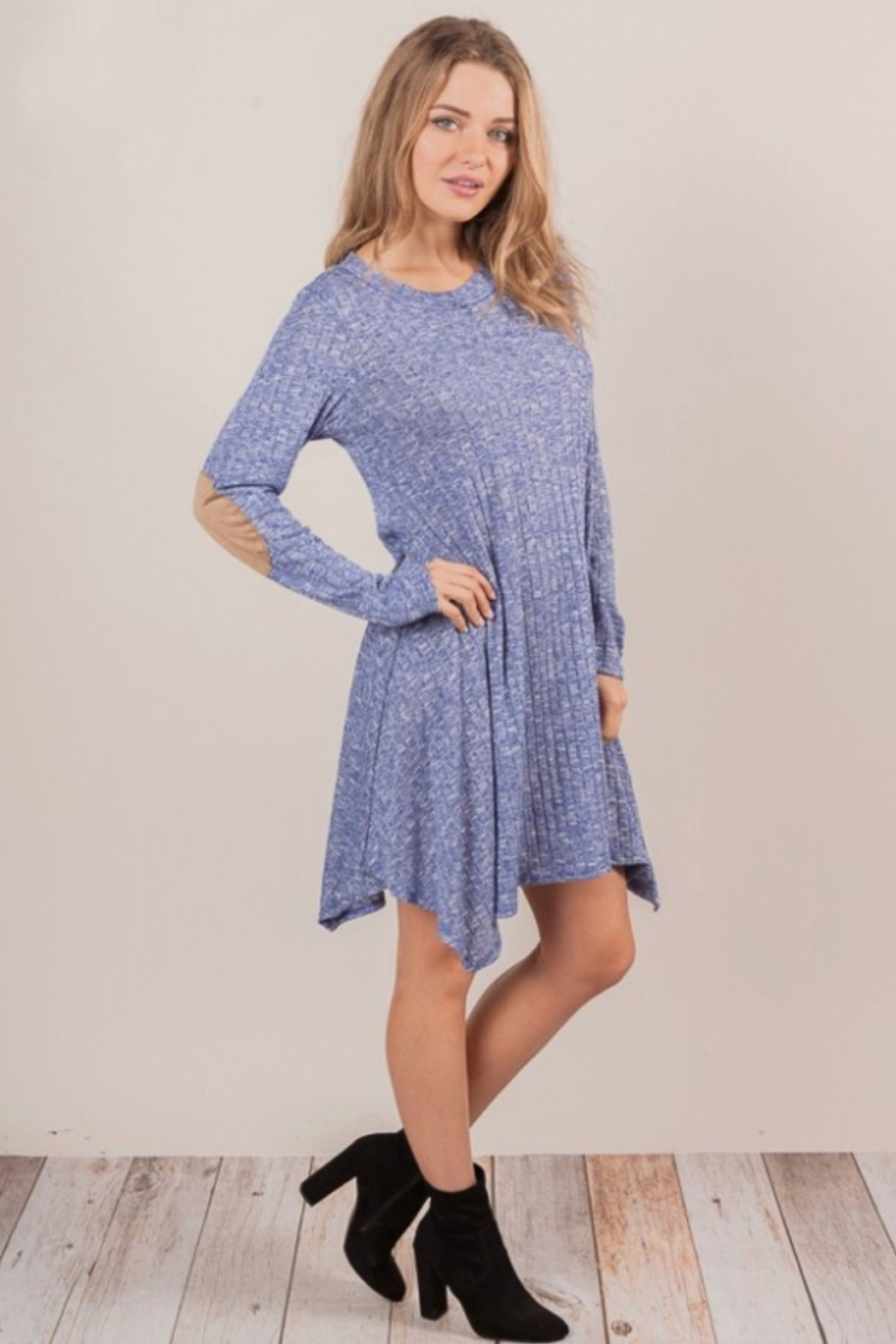 Chris and Carol knit sweater dress with elbo patch - Main Image