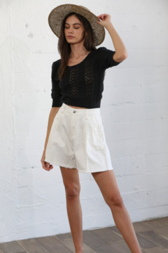 By Together Knit Sweater Jacquard Round Neck Crop Top - Alternate List Image