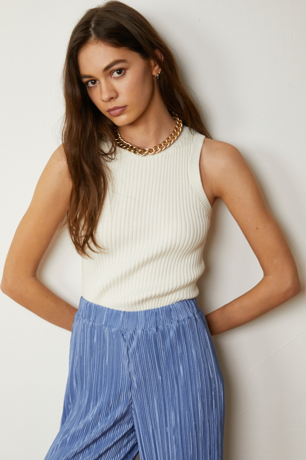 By Together Knit Sweater Jacquard Round Neck Crop Top - Main Image