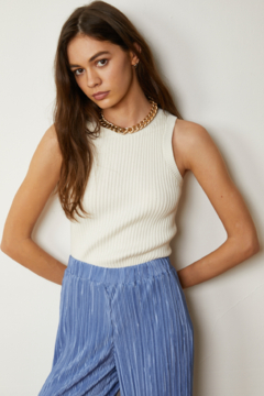 By Together Knit Sweater Jacquard Round Neck Crop Top - Product List Image