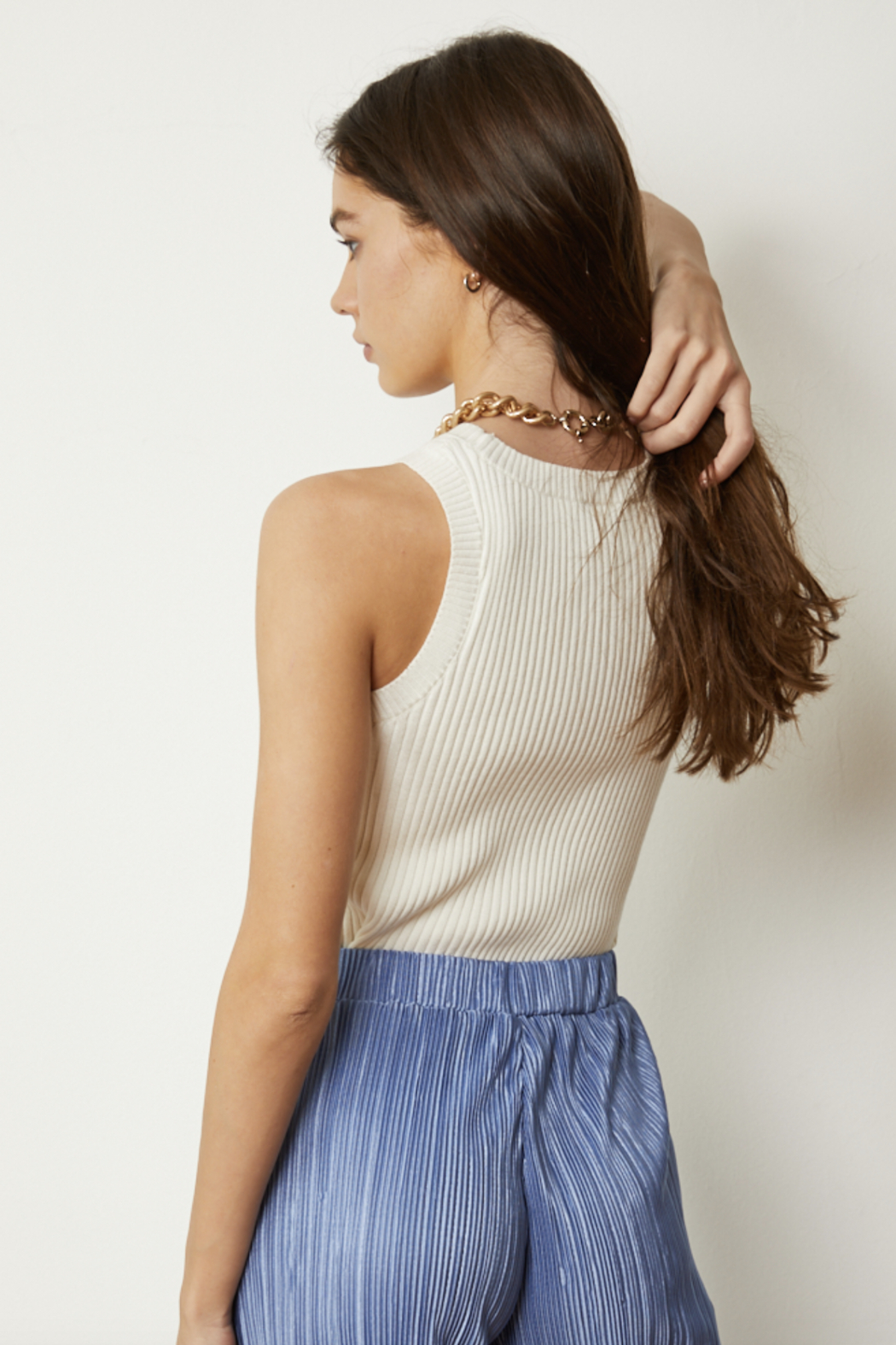 By Together Knit Sweater Jacquard Round Neck Crop Top - Front Full Image